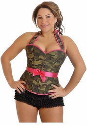 Plus Size Camouflage Halter Pin-Up Burlesque Corset