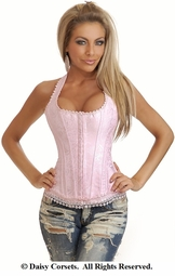 Pink Brocade Halter Corset with Lace Trim and Thong