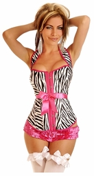 Zebra Halter Corset with Lace-Up Back