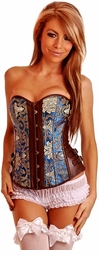 Blue and Chocolate Brocade Corset