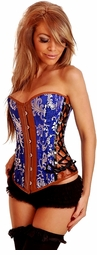 Blue and Tan Borcade Corset