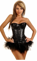 Black Sequin Underwire Zipper Corset & Pettiskirt