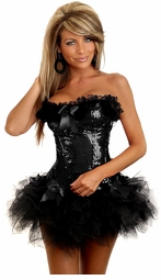 Black Burlesque Underwire Corset & Pettiskirt