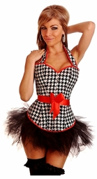 Pin-Up Houndstooth Halter Top Corset & Pettiskirt