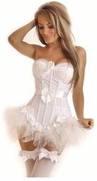 Flocked Polka Dot Underwire Corset & Pettiskirt
