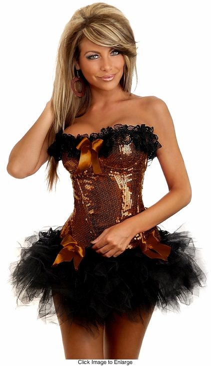 Brown Burlesque Underwire Corset & Pettiskirt