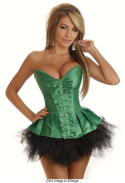 Emerald Satin Corset and Pettiskirt