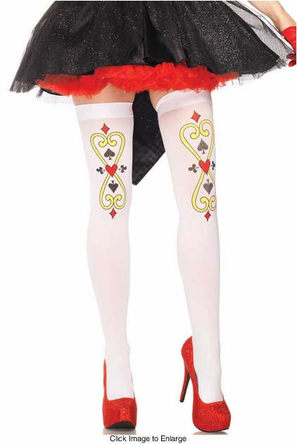 Royal Scroll Card Suit Print Thigh High Stockings