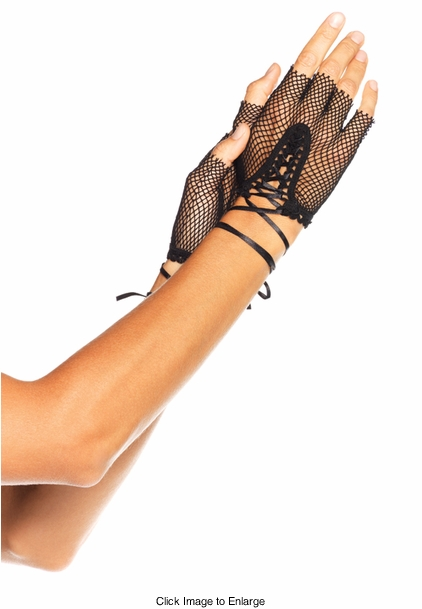 Fishnet Fingerless Lace Up Gloves