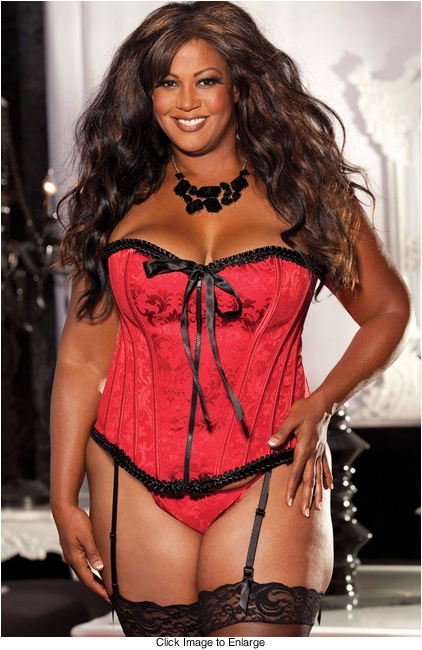 Plus Size Red Brodade Corset