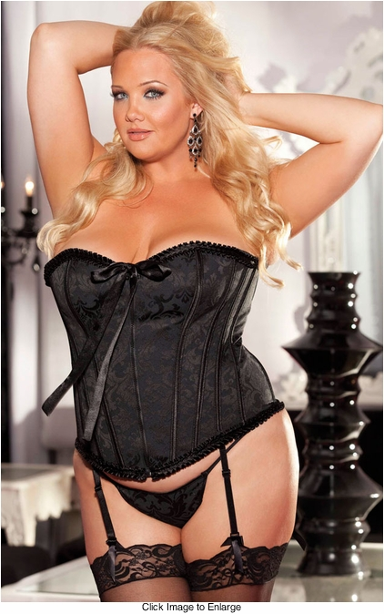 Plus Size Black Brocade Corset (available up to size 38)