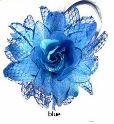 "4.5"" Lace and Feather Blue Flower Hair Clip"