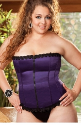 Plus Size Best Selling Satin and Spandex Corset Top in Purple (available up to size 44)