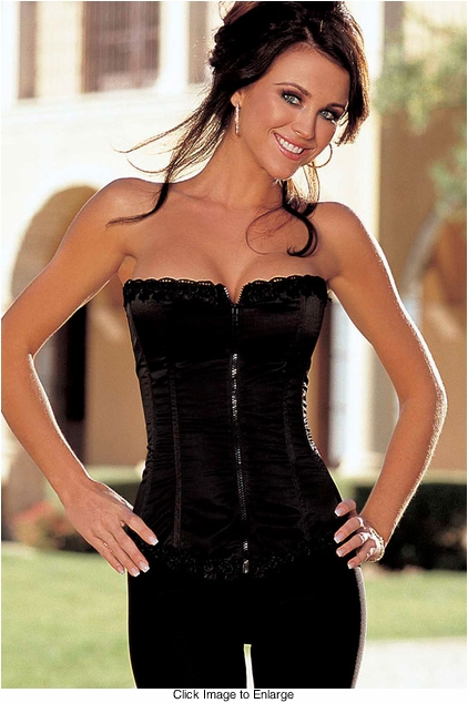 Our Best Selling Satin and Spandex Corset Top in Black (available up to size 38)