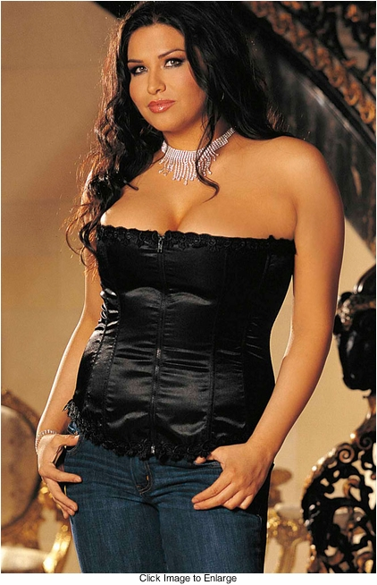Plus Size  Best Selling Satin and Spandex Corset Top in Black (available up to size 44)