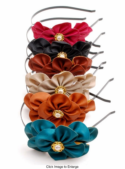 Faux Leather Flower Headband available in 6 colors