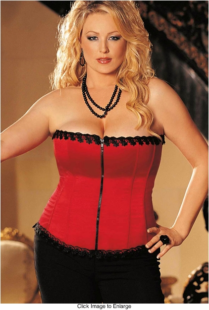 Plus Size Best Selling Satin and Spandex Corset Top in Red (available up to size 44)