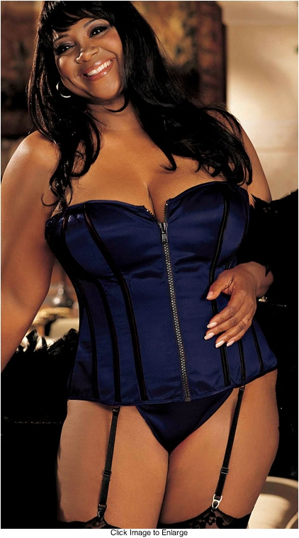 Plus Size Navy Blue Corset and G-string