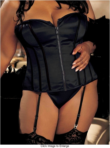 Plus Size Black Corset with G-string