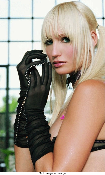Mesh Gloves with Rhinestone Seam
