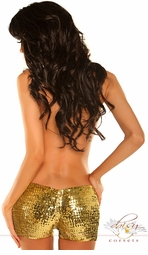Gold Sequin Elastic Booty Shorts