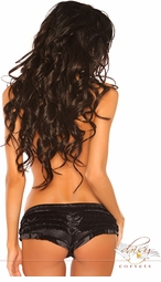 Black Satin Ruffle Hot Shorts