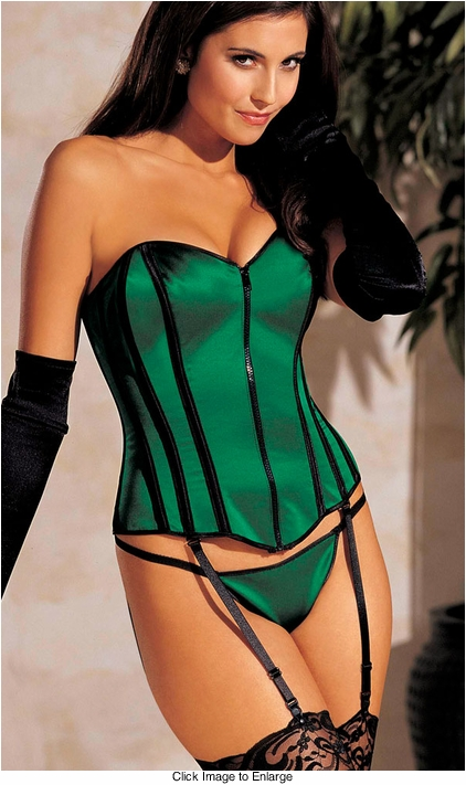 Emerald Green Straples Satin Corset with G-string