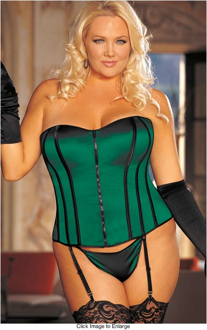 Plus Size Emerald Green Corset with G-string