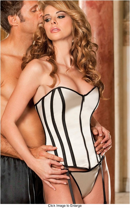Champagne Satin Corset with G-string