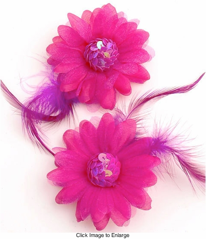 "3"" Daisy Flower Hair Clips with Sequin Center and Feather Accents"