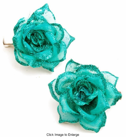 "2"" Sparkle Rose Flower Hair Clips Pair (available in 6 colors)"