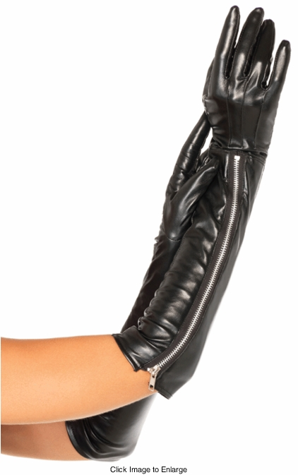 Faux Leather Gloves Elbow Length
