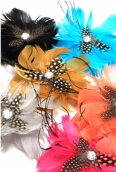 "4.5"" All Feather Flower Hair Clip Fascinator (available in 9 colors)"