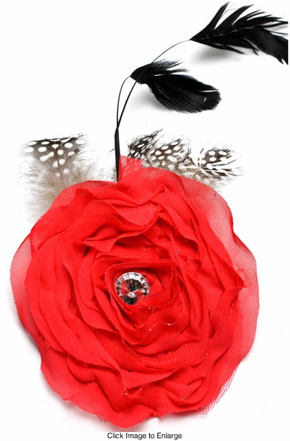 "4"" Flower Fascinator Hair Clip with Feather Accents"