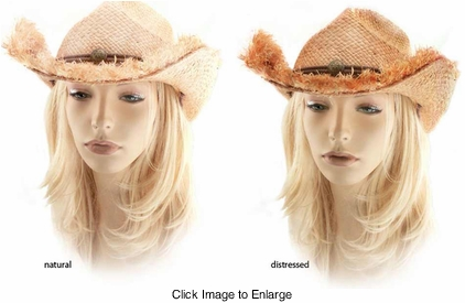 Frayed Edge Straw Cowgirl Hat with Button