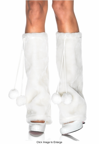 Furry Leg Warmers with Pom Pom Ties