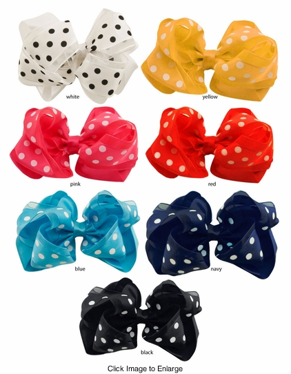 "4"" Polka Dot and Satin Hair Clip Bow"