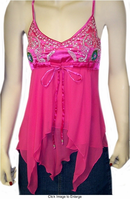 Pink Peacock Top in Satin and Chiffon