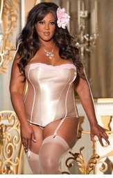 Plus Size Hourglass Satin Contour Corset in Nude and Candy Pink