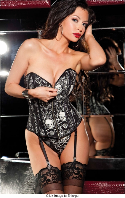 Edgy Black Skull Print Corset with G-String