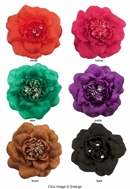 "5"" Silky Flower Hair Clip with Crystal Center"