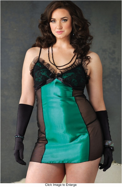 Plus Size Jade Satin and Mesh Slip with G-string