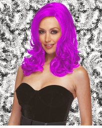 Sultry Shoulder Length Wig with Soft Curls in Hot Pink