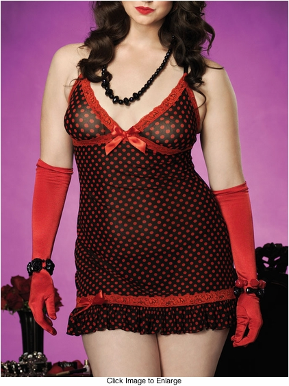 Plus Size Polka Dot Mini Dress with Red Lace Trim and Thong