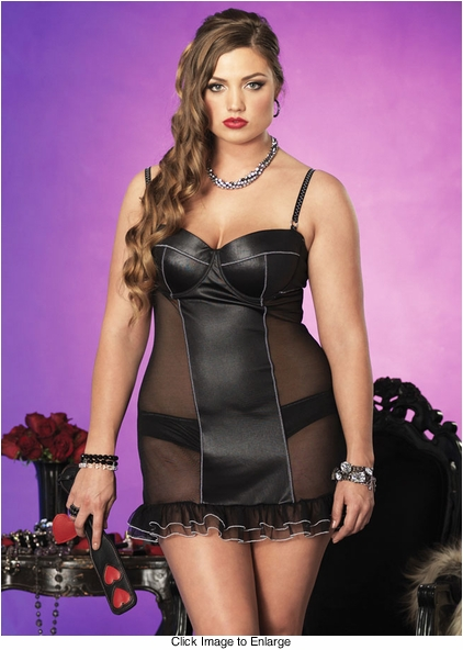 Plus Size Spandex and Mesh Underwire Mini Dress