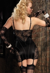 Shapewear Underwire Garter Dress with Lace Panels