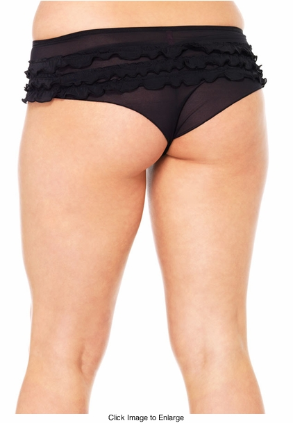 Plus Size Mesh Ruffle Black Tanga Shorts