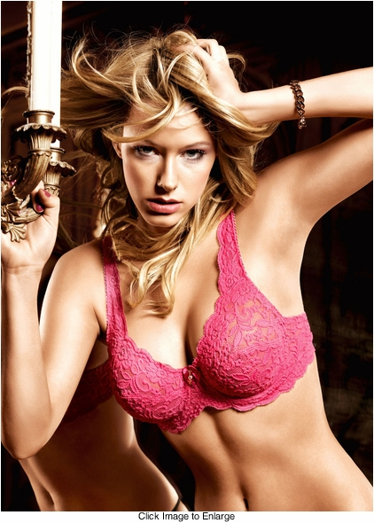 Raspberry Pink Lace Demi Bra With Underwire