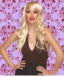 Long Wig with Tousled Curls and Face Framing Bangs in Blonde