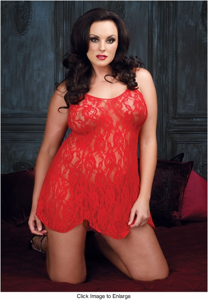 Plus Size Rose Lace Mini Dress and G-string
